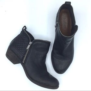 Lucky Brand Black Leather Ankle Boots Zipper 8
